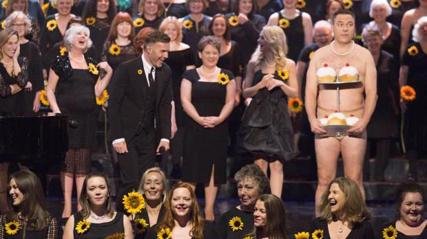 David Walliams walked out on stage to surprise Gary Barlow and the cast from the singer's musical comedy The Girls (ITV/PA Wire)
