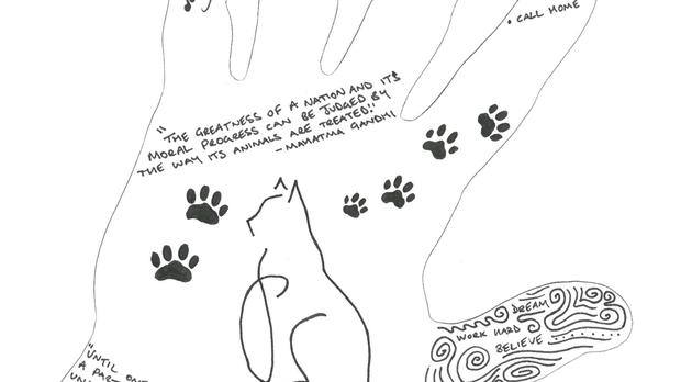 A hand-drawn piece of artwork by Danny Mac (Cats Protection/PA Wire)