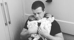 Leinster and Ireland rugby star Sean Cronin with his baby sons