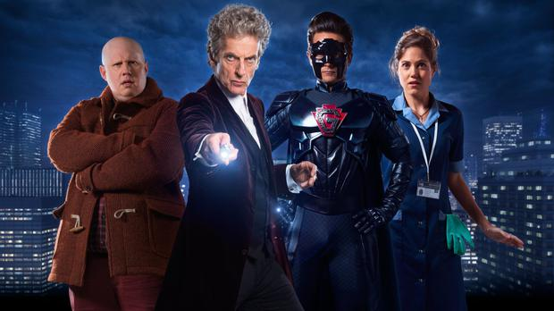 Matt Lucas as Nardole, Peter Capaldi as the Doctor, Justin Chatwin as The Ghost and Charity Wakefield as Lucy Fletcher in the Doctor Who Christmas special The Return of Doctor Mysterio (BBC/PA)