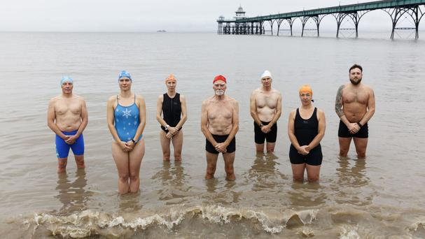Sea swimmers from Clevedon in Somerset who feature in a new batch of BBC One idents by photographer Martin Parr (PA/BBC)