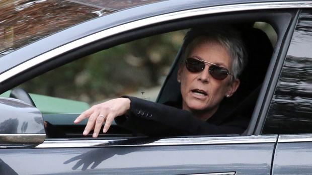 Jamie Lee Curtis leaves a memorial service at the homes of Debbie Reynolds and Carrie Fisher in Los Angeles (AP)