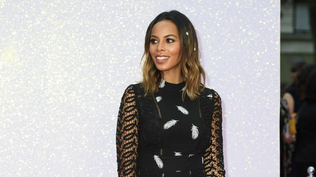 Rochelle Humes plays a voice trumpet