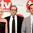 Helen George, left, and Jack Ashton, right, with Call The Midwife co-star Ben Caplan