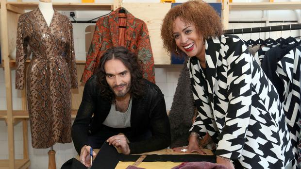Russell Brand with Vanessa Blythe of fashion line Nina Baker during the launch of RAPt's new employment services for addicts and ex-offenders at the London Recovery Hub