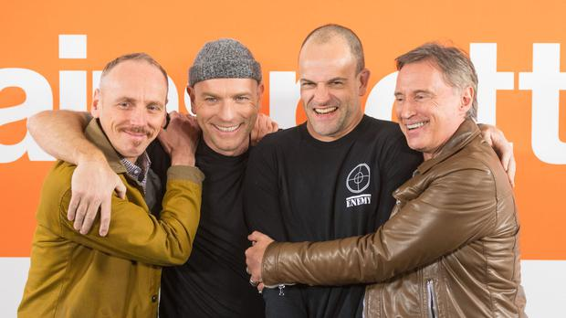 (Left to right) Cast members Ewen Bremner, Ewan McGregor, Jonny Lee Miller and Robert Carlyle during a photo call for the cast of T2 Trainspotting