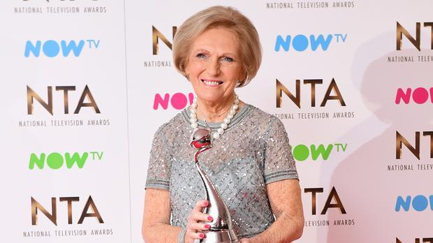 Mary Berry with the Best TV Judge Award at the National Television Awards