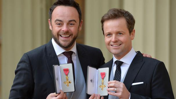 TV presenters Ant and Dec after they were presented with their OBEs at Buckingham Palace