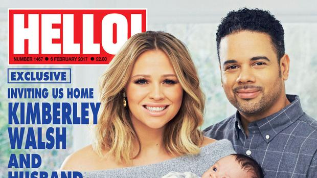 Kimberley Walsh and husband Justin Scott with their newborn son Cole (Hello!/PA Wire)