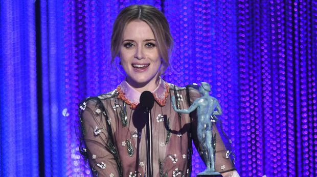 Claire Foy with her outstanding performance by a female actor award (Invision/AP)