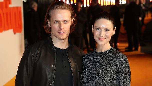 Outlander stars Sam Heughan and Caitriona Balfe have been pictured on set at Dunure Castle, South Ayrshire