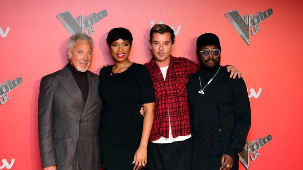The Voice coaches (left-right) Sir Tom Jones, Jennifer Hudson, Gavin Rossdale and Will.i.am