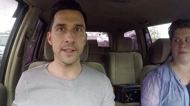 Screengrab taken from video issued by Comic Relief of Russell Kane and Katy Brand during a charity trip across East Africa