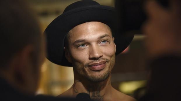 Model Jeremy Meeks backstage before the Philipp Plein fashion show in New York (AP Photo/Diane Bondareff)