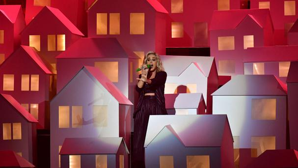 Katy Perry performs at the Brit Awards
