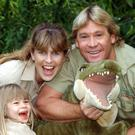 Aussie adventurer Steve Irwin with his wife Terri and daughter Bindi, pictured in 2002