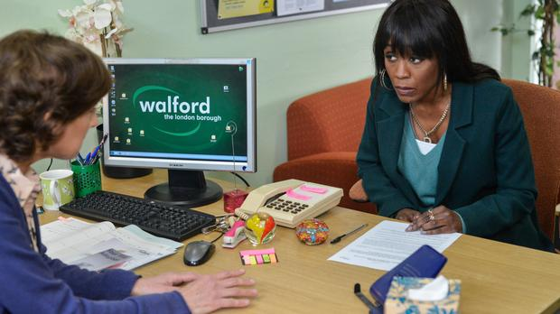 EastEnders character Denise Fox (played by Diane Parish) as she makes the final decision to give her child up for adoption (BBC/PA)