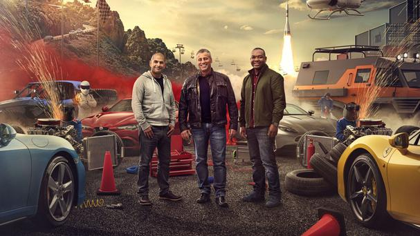 Chris Harris, left, with Top Gear co-stars Matt LeBlanc, middle, and Rory Reid (BBC/PA)