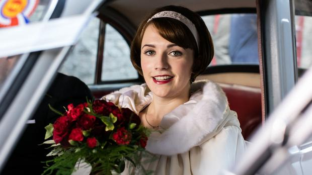 Charlotte Ritchie as Barbara in Call The Midwife, dressed for her wedding (Sophie Mutevelian/BBC/PA Wire)