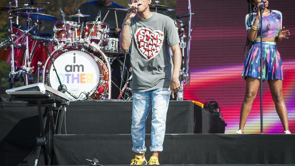 Pharrell Williams performing at the British Summer Time festival in Hyde Park, London