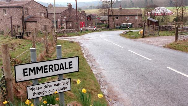 ITV handout of a sign in the village of Emmerdale in Yorkshire.