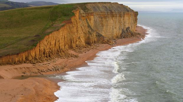 An aerial view of cliffs on the Jurassic Coast near West Bay, Dorset, where ITV's Broadchurch is filmed.