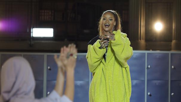 Singer and fashion designer Rihanna at France's National Library during Paris Fashion Week (Thibault Camus/AP)