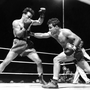 Jake LaMotta (right) fights Marcel Cerdan in Detroit in 1949 to become middleweight champion. Photo: AP