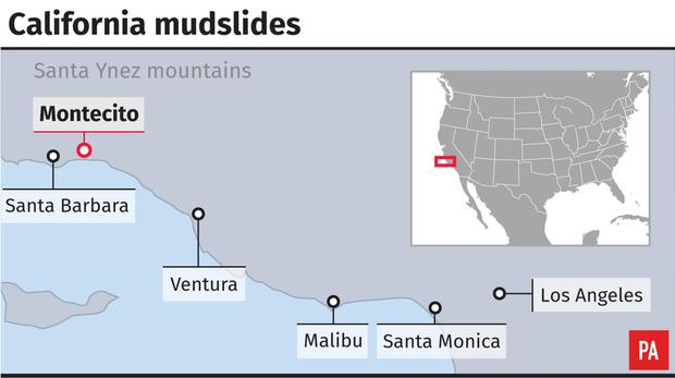 Map showing locations of California mudslides (PA Graphics)