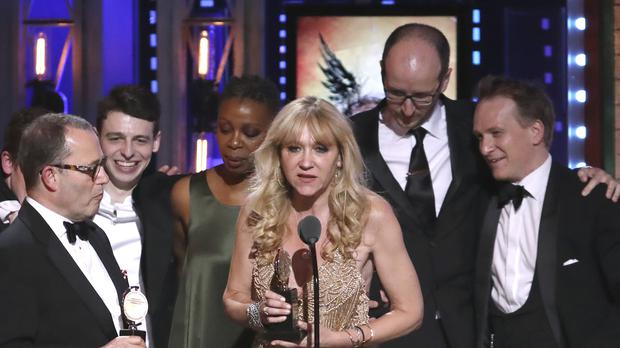 Producer Sonia Friedman and the cast and crew of Harry Potter And The Cursed Child accept the award for best play at the 72nd annual Tony Awards (Michael Zorn/Invision/AP)