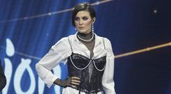 Anna Korsun, who performs under the name Maruv, centre, on stage at the national nomination for Eurovision in Kiev, Ukraine (Vladimir Donsov/AP)