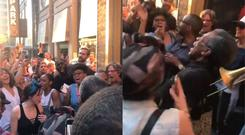 Hadestown cast members sing a song about the power outage in Manhattan on Saturday evening (Pictures courtesy of @AngelaPinsky)