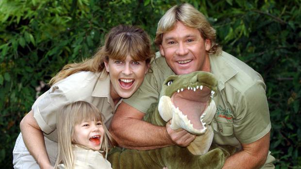 Steve Irwin, with his wife Terri and their daughter Bindi (Myung Jung Kim/PA)