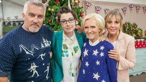 Paul Hollywood with former The Great British Bake Off colleagues Sue Perkins, Mary Berry and Mel Giedroyc