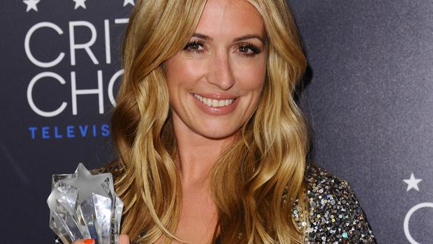 Cat Deeley poses in the press room with the award for best reality series host for So You Think You Can Dance (AP)