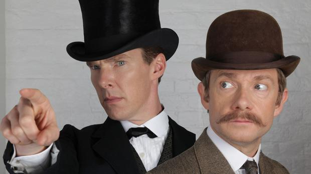 Benedict Cumberbatch (left) playing Sherlock Holmes