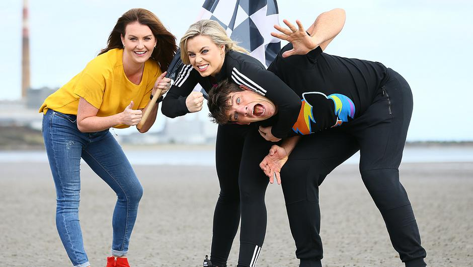 Ireland's Fittest Family presenter Mairead Ronan with coaches Anna Geary and Donncha O'Callaghan. Photo: Frank McGrath