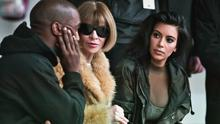 Kanye West with Anna Wintour and Kim Kardashian at the Yeezy Boost catwalk show