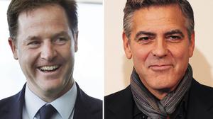 George Clooney would be the perfect choice to play Nick Clegg in a film about the Coalition - at least according to the politician's wife