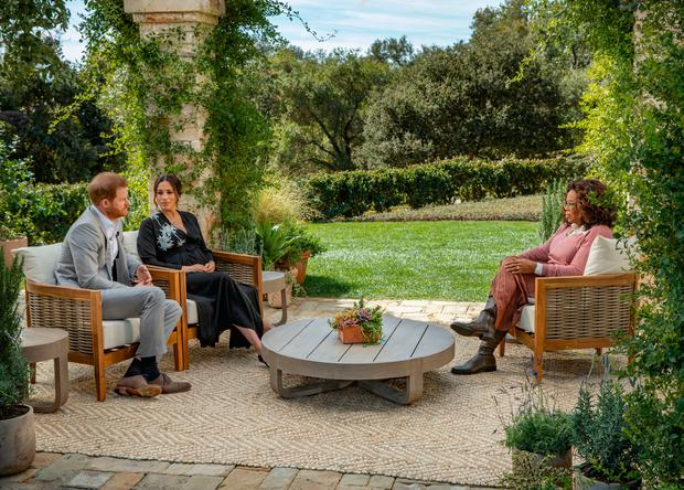 The Duke and Duchess of Sussex during their interview with Oprah Winfrey. Photo: Joe Pugliese/PA Wire