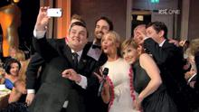 Simon Delaney and Laura Whitmore with pals at the IFTAs