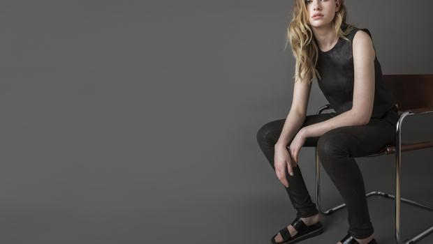 Sleeveless stretch-leather top, €550; matching stretch-leather leggings, €795