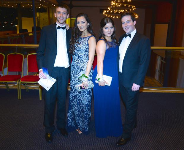 18/09/15. Ronan Cullen (19), Maria Fitzgerald (18) wearing Elliot Chambers, Danielle McMahon (19) wearing Miss Selfridge and Thomas Rafferty (19) at the St.Gerards Debs held in the Pavillion in Leopardstown.