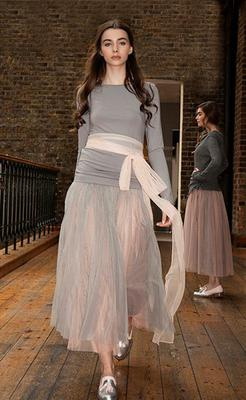 Top, €40; skirts, grey layered over nude, €95 each; belt, €65, all Mary Grant, Ground Floor, Powerscourt Townhouse Centre, D2, tel: (01) 675-0881