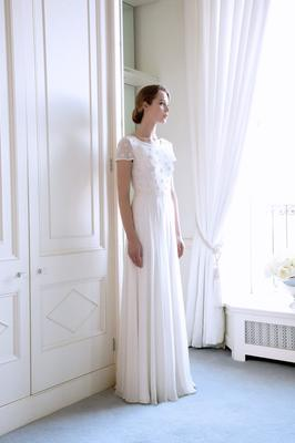 'Sissi' silk georgette gown with pearl starburst- encrusted bodice, €3,995