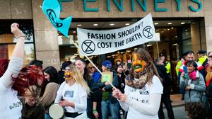 Target: Extinction Rebellion protesters outside Penneys on O'Connell Street in Dublin last October