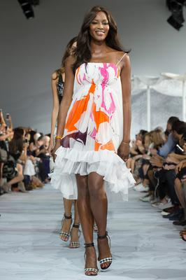 Naomi Campbell walks the runway as the Diane Von Furstenberg Spring 2015 collection