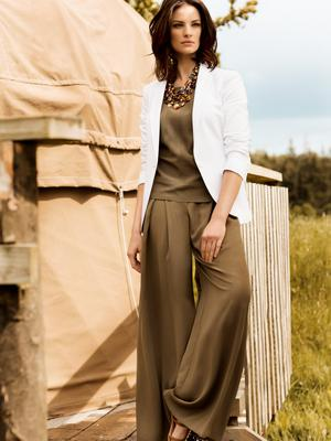 M&S Collection White Blazer, €140 Limited Edition Khaki Tank Top, €44 Limited Edition Khaki Palazzo Trousers, €53 M&S Collection Rhinestone Sandals, €42 M&S Collection Necklaces (x3), €20 each