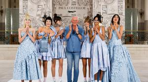 Paul Costelloe closed his Spring-Summer 2022 London Fashion Week show with models dressed in shades of blue