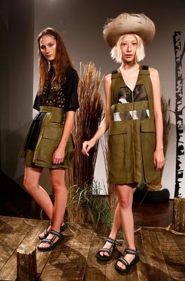 Models are seen at the Danielle Romeril presentation during London Fashion Week Spring Summer 2015